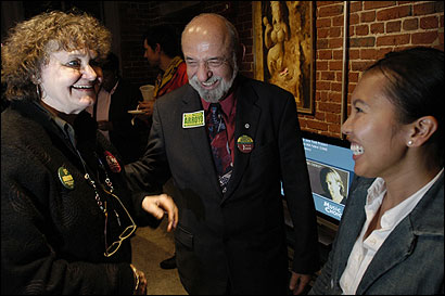 Councilor at Large Felix Arroyo talked to Jean Alonso of Dorchester (left) and Lesa Huynh of Boston at a fund-raising event last week. About 40 people attended.
