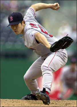 Theo made his first in-season trade as GM for the Red Sox on May 29, 2003, dealing third baseman Shea Hillenbrand to the D-Backs for Kim. BK served as both a starter and a closer for the Red Sox, going 8-5 with a 3.18 ERA the rest of the season for Boston, starting five games and saving 16. Kim pitched poorly in the ALDS and was left off the ALCS roster. After the 2003 season, Epstein signed Kim for two more years at $10 million. The sidearmer was later traded.