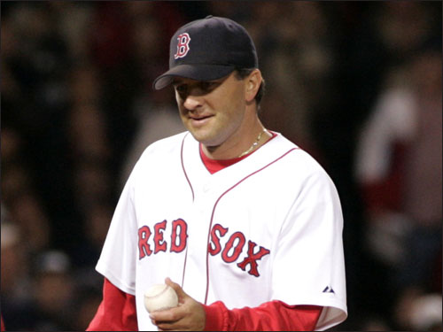 A solid Keith Foulke anchored the Red Sox bullpen in 2004 and Mike Timlin and Alan Embree played key setup roles. Theo added role players Curtis Leskanic (picked off waivers in June of 2004) and Mike Myers (pictured to the left; picked off waivers in August of 2004) during the season.