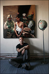 Artist Steve Mumford sits below his 2005 oil-on-canvas painting The Accused. He spent six months embedded with American troops in Iraq, where he sketched and painted scenes from civilian and military life.