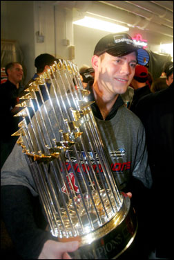 Celebrating his team's first World Series in 86 years, Theo Epstein offered the following thoughts: 'This is for anyone who ever played for the Red Sox, anyone who ever rooted for the Red Sox, anyone who has ever been to Fenway Park. This is bigger than the 25 players in this clubhouse. This is for all of Red Sox Nation past and present. I hope they're enjoying it as much as we are.'