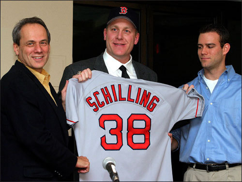 Curt Schilling acquired in trade Less than a month after spending Thanksgiving dinner with the Schillings in 2003 and trying to convince Curt to accept a deal to Boston, Epstein made his biggest deal to that point: Acquiring Schilling from Arizona in exchange for Casey Fossum, Brandon Lyon, and two minor leaguers. Schilling won 21 games for the Red Sox in 2004 and had legendary performances against the Yankees and Cardinals in the postseason.