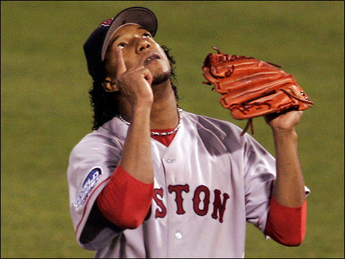 Red Sox ace Pedro Martinez played out his contract with the Red Sox in 2005 and -- after a drawn-out offseason song and dance -- ended up signing with the New York Mets for four years at $53 million. Martinez won 117 games in his seven years in Boston. In 2005, his first season as a Met, Martinez posted a 15-8 record with a 2.82 ERA, 208 strikeouts, and a league-leading 0.95 WHIP.