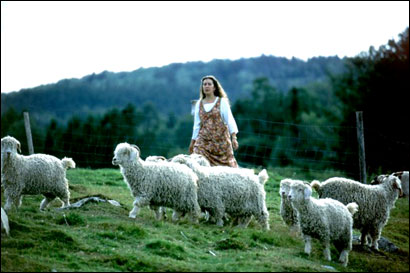 Jill Adams Mancivalano organizes the Vermont Retreat at her farm, and the fiber is the kind provided by angora goats.