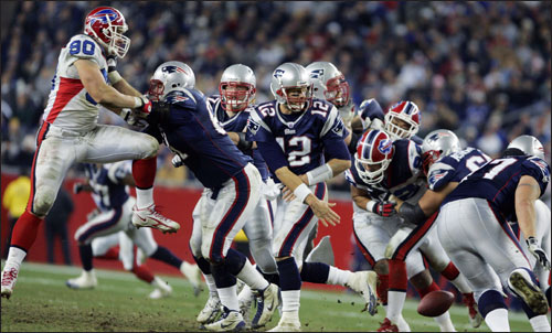 Brady (12) lost the ball as his pass blocking broke down in the fourth quarter. The fumble was recovered by the Bills.
