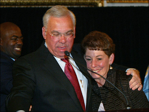 Menino smiled at supporters and hugged his wife Angela as he celebrated his victory.