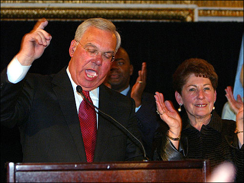 Menino made a spirited victory speech on stage at the Fairmont Copley Plaza hotel.