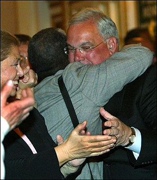 Boston Mayor Thomas Menino greeted supporters before his victory speech on becoming a fourth-term mayor of Boston.