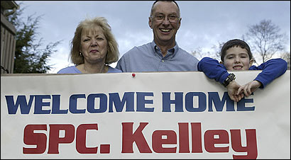 At their home in Weymouth, Peg Kelley, her husband, Paul, and their grandson Shane Patrick O'Leary, looked forward to Specialist Justin Kelley's return from Iraq.
