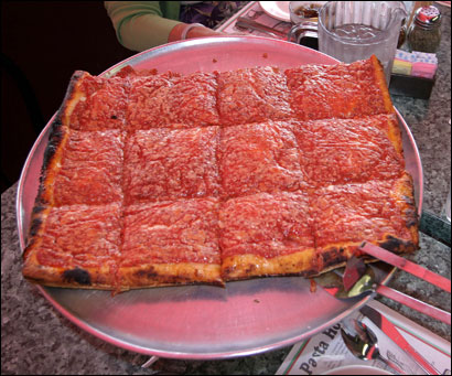 Sicillian pizza: square, thick crust, cheese under the sause.