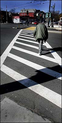 Standard crosswalks made of reflective stripes cost the city a few hundred dollars each to make.