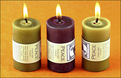 The labels on peace candles from Ellie & Friends say 'peaceful coexistence is possible and realistic.' To support that end, proceeds from sales benefit a program in intercommunal coexistence at Brandeis.
