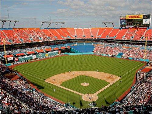 "The Boston Globe's Chris Snow writes, ""Michael Hill, the Florida Marlins' assistant GM the last three seasons, also is expected to be interviewed in the coming days. Hill, named to Black Enterprise magazine's 2003 Hot List of African-American executives under age 40, is a celebrated 1993 graduate of Harvard, where as a senior he was elected class marshal, led the football team in rushing, and captained the baseball team. Hill, in an email last night, said he had not yet been contacted by the Red Sox."" (Miami's Dolphins Stadium at left)"
