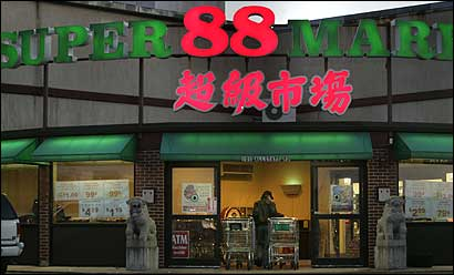 Shoppers flocked to the Super 88 Market on Allstate Road in Boston yesterday. The store was open despite state blue laws.