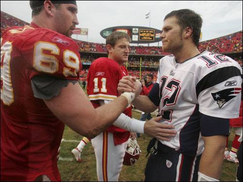 Brady shook hands with Jared Allen and former teammate Damon Huard following the 26-16 defeat.