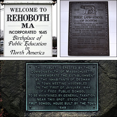 A highway sign in Rehoboth (clockwise from top-left), a plaque at Boston Latin School, and a tablet in Dedham all lay claims to being the birthplace of the public school.