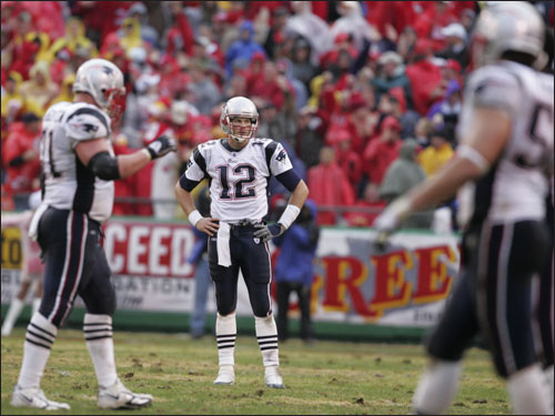 Brady reacted after throwing his third interception against the Chiefs during the fourth quarter.