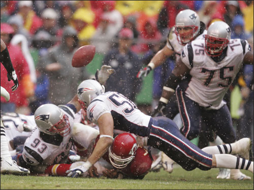 Richard Seymour forced the Larry Johnson to fumble during the fourth quarter.