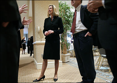 Lieutenant Governor Kerry Healey, at a meeting of the Boston Chamber of Commerce in November, is the Romney administration's liaison with local officials.