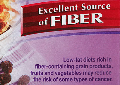 Many food manufacturers tout the purported cancer-fighting benefits of fiber on the labels of their products.