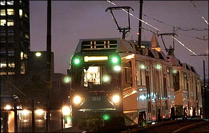 A Breda trolley made its way outbound on Commonwealth Avenue in Boston yesterday. The Italian troley manufacturer is to deliver 85 recamped Breda trolleys to the T by January 2007.