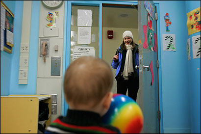 Debrah Rud, a Harvard doctoral student, dropped off her year-old son, Jack, at day care.