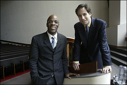 The Rev. Hurmon Hamilton (left) and Rabbi Jonah Pesner of the Greater Boston Interfaith Organization persuaded House Speaker Salvatore F. DiMasi to back an employer mandate requiring businesses to cover workers or pay a tax.