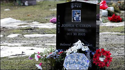 Joshua C. Colon (left), an aspiring rap artist, was killed by an alleged drunk driver in Methuen two days after Melanie's Law took effect Oct. 28. Remembrances were left at his grave yesterday at St. Mary's Cemetery in Lawrence.