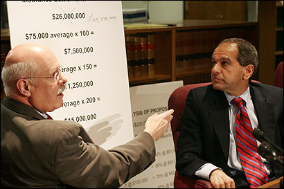 Attorneys Carmen Durso (left) and Mitchell Garabedian at a press conference yesterday on alleged church sex abuse cases.