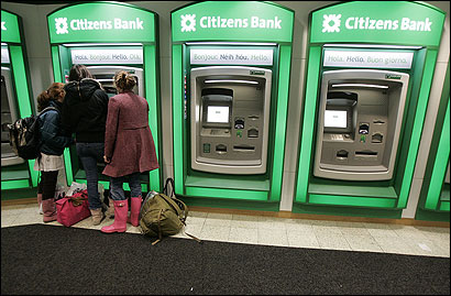 The Citizens Bank branch at Harvard Square in Cambridge has rows of ATMs with ''hello'' written in several languages.