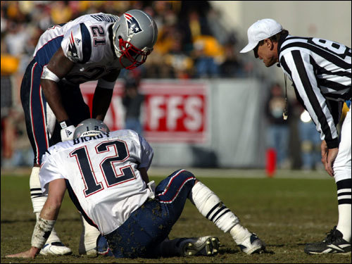 Jan. 27, 2002: Patriots 24, Steelers 17 The Patriots came out firing, and Brady was on the mark early, but he sprained his left ankle on a hit by safety Lee Flowers. Drew Bledsoe played the rest of the game (more than a half) after Brady's injury. ''He could have gone back out and played, but I just felt like the way things were going we were better at that point in time [with Drew Bledsoe],'' said coach Bill Belichick.