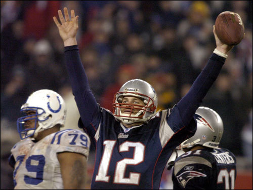 Jan. 18, 2004: Patriots 24, Colts 14 Brady was 22 of 37 for 237 yards and a touchdown pass in leading the Patriots into their second Super Bowl in three years.