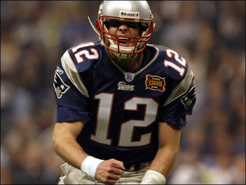 Feb. 1, 2004: Patriots 32, Panthers 29 Brady emerged victorious in a second-half offensive shootout against the Panthers in Super Bowl XXXVIII. He completed 32 of 48 passes for a whopping 354 yards, three touchdown passes, and one interception. His efforts earned him his second Super Bowl MVP trophy.