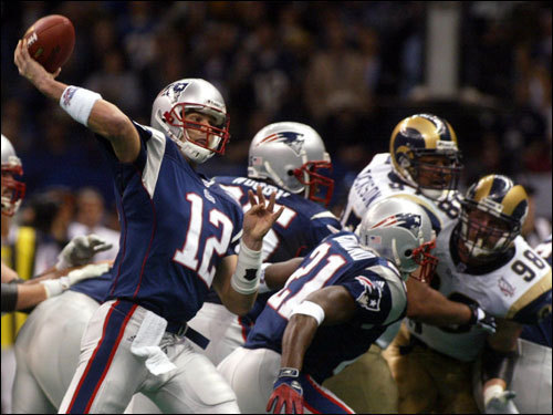 Super success Brady came up huge for the Patriots on the final drive of Super Bowl XXXVI on Feb. 3, 2002 against the Rams. Brady passed for 53 yards on the game-winning drive late in the fourth quarter and put the Patriots into field-goal position with 1:21 remaining without the benefit of a timeout. Adam Vinatieri kicked the winning field goals as the Patriots defeated the Rams 20-17. Brady finished 16 for 27 for with 145 yards passing and became the third-youngest-player to win a Super Bowl MVP award.