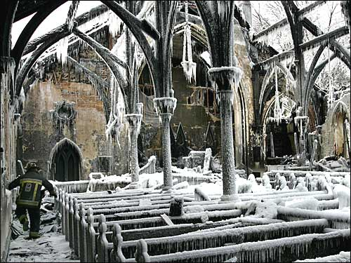 burned-out church coated in ice