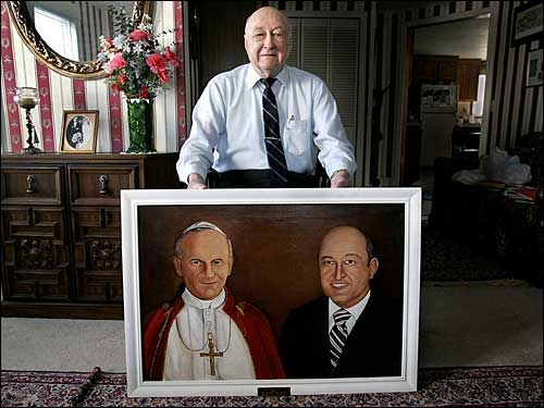 Salem lawyer with portrait of himself and pope