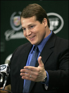 Eric Mangini speaks to the media at his introductory press conference with the New York Jets.