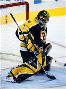 Bruins goalie Andrew Raycroft has been on the bench for the last two games.