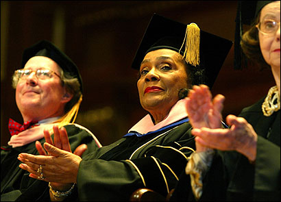 Coretta Scott King was the commencement speaker at her alma mater, the New England Conservatory of Music, in 2004. She graduated in 1954.