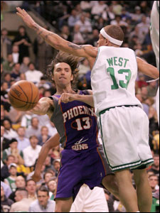 Delonte West pressured Steve Nash during the third quarter, but his strong play this season was not enough to earn him a trip to all-star weekend.