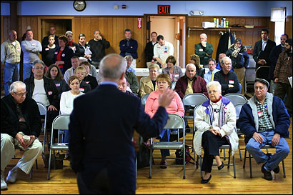 Attorney General Thomas Reilly addressed Democrats meeting yesterday at Camp Gleason in Auburn to vote for state convention delegates.