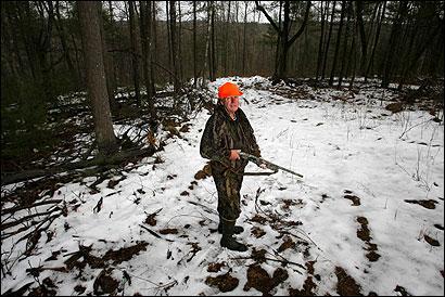 Wayne McCarthy showed off his deer hunting spot in Framingham last week.