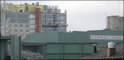 Renovations at Fenway Park may not affect wind currents there, but Trilogy, the Fenway Ventures development at the intersection of Boylston Street and Brookline Avenue (background), may.