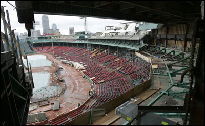 What was once the glassed-in .406 Club is gone, to be replaced by Opening Day with new open-air seating (at $275 each) in the EMC Club behind home plate. (Globe Staff Photo / Stan Grossfeld) &nbsp;&nbsp;&nbsp;&nbsp;&nbsp;&nbsp;&nbsp;&nbsp;&nbsp; &nbsp;<a href='http://www.boston.com/sports/baseball/redsox/gallery/02_08_06_renovations' onclick='openWindow('http://www.boston.com/sports/baseball/redsox/gallery/02_08_06_renovations','','width=775,height=585,resizable=yes,scrollbars=yes,toolbar=no,location=no,menubar=no,status=no'); return false;'> Fenway changes