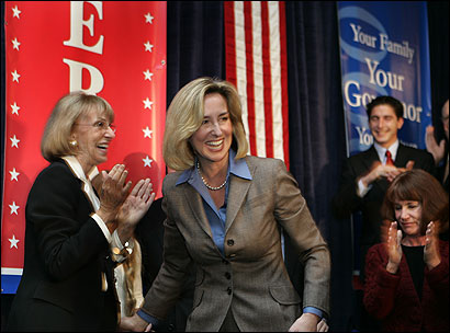 Lieutenant Governor Kerry Healey — flanked by her mother, Shirley Murphy, and mother-in-law, Yvonne Healey (right) — made her way to the podium at Omni Parker House yesterday to announce her bid to become governor of Massachusetts.