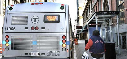 A Silver Line bus made its turnaround on Temple Street yesterday at Downtown Crossing.
