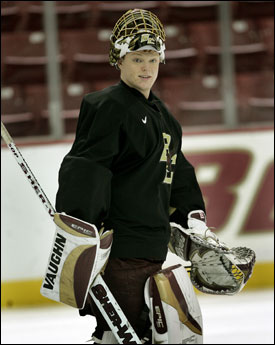 Boston College goaltender Cory Schneider's reading of plays, athleticism, and technical skills have helped him master the butterfly style.