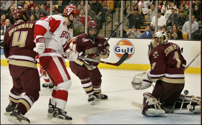 BU's Peter MacArthur pulled the winning goal out of thin air, knocking it past BC goalie Cory Schneider.