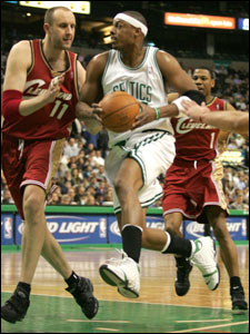 Paul Pierce drives past Zydrunas Ilgauskas for two of his 50 points against Cleveland.