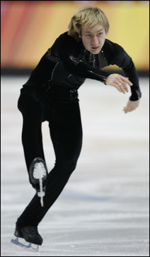 Evgeni Plushenko of Russia was in first after the men's short program.